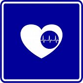 heart with electrocardiogram sign