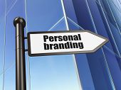 Advertising concept: Personal Branding on Building background