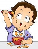 Illustration of a Baby Boy Playing with His Food