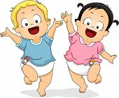 Illustration of Babies in Diapers Happily Dancing Around While Waving Their Hands in the Air