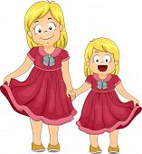 Illustration of Female Siblings Wearing Dresses of the Same Color and Design