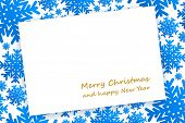 Christmas Card On Background With Blue Snowflakes