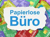 Business concept: Papierlose Buro(german) on Credit Card backgro
