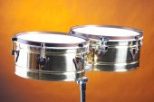 Timbales Drums Against Gold  Background