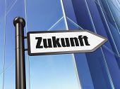 Time concept: Zukunft(german) on Building background