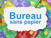 Finance concept: Bureau Sans papier(french) on Credit Card backg