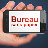 Finance concept: Bureau Sans papier(french) on smartphone