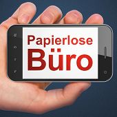 Business concept: Papierlose Buro(german) on smartphone