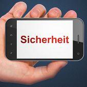 Privacy concept: Sicherheit(german) on smartphone