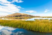 Lake Titicaca,south America, Located On Border Of Peru And Bolivia. It Sits 3,812 M Above Sea Level,
