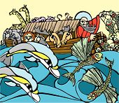 stock photo of noah  - Noah fishes of the side of his Ark while dolphins play - JPG