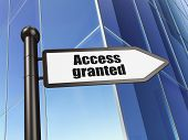 Protection concept: Access Granted on Building background