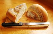 White Swirl Bread Loaf With Knife