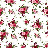 stock photo of english rose  - Vector seamless pattern with red and pink roses and freesia and green leaves on a white background - JPG