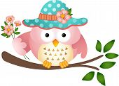 Pink Owl With Flowers