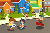 stock photo of street-art  - A vector illustration of happy kids playing in the street of a suburban neighborhood - JPG