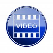 Film Icon Glossy Blue, Isolated On White Background