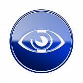 Eye Icon Glossy Blue, Isolated On White Background.