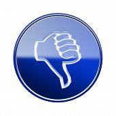 Thumb Down Icon Glossy Blue, Isolated On White Background.