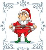 image of poverty  - Vector cartoon - hand drawn caricature of a poor Santa Claus. File type: vector EPS AI8 compatible. 