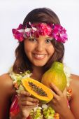Portrait Of A Hawaiian Girl With Flower Lei Papaya