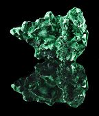 picture of crystallography  - malachite mineral stone close up  with reflection on black surface background - JPG
