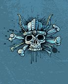 Terrible skull in helmet with horns and bones on background - EPS10 vector illustration