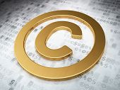 Law concept: Golden Copyright on digital background