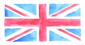 Watercolor UK flag, watercolor British flag