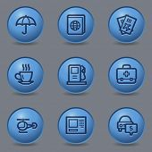 Travel web icons set 4, circle blue buttons