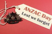 Australian Anzac Day, April 25, Save The Date With Ww1 Rising Sun Hat Badge On Red, White And Blue B