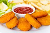 image of takeaway  - Chicken nuggets with french fries and ketchup - JPG