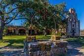 The Rustic and Historic Old West Spanish Mission Espada, established in 1690, San Antonio, Texas.