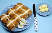 Traditional Australian And English Easter Good Friday Meal, Hot Cross Buns, On Blue Polka Dot Plate
