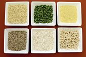 Gluten Free Grains Food - Brown Rice, Millet, Lsa, Buckwheat Flakes And Chickpeas And Green Peas Leg