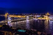 River view of Budapest at evening