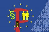 stock photo of homogeneous  - Norms of the European Union flatten individual characteristics and provoke criticism - JPG