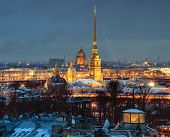 Russia, Saint-petersburg, Peter And Paul Fortress, Night, Top View.