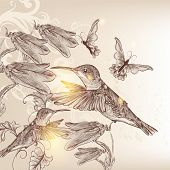 Vintage Vector Background With Human Bird, Butterflies And Flowers: