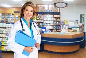 Pharmacist woman. Health care background.