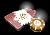 Illustration Of A Noble Discount Sign  On Poker Cards