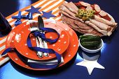 Football party celebration table in team colors
