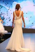 ZAGREB, CROATIA - OCTOBER 5: Fashion model in wedding dress on 'Wedding days' show on October 5, 201