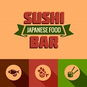 flat template of sushi bar menu