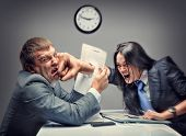 stock photo of punch  - Mad fight of business people - JPG