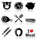 stock photo of pork belly  - Food vector icons set  - JPG