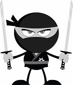 Angry Ninja Warrior With Two Katana Flat Design In Gray Color