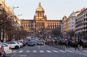 Top Of Wenceslas Square And National Museum In Background