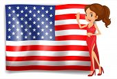 Illustration of a beauty queen and the flag of the USA on a white background