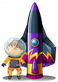 Illustration of a young astronaut beside the rocket on a white background